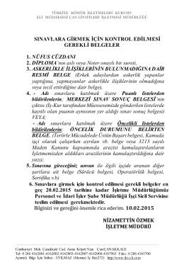 işçi alımı sınavına girmek için kontrol edilecek belgeler10.02.2015