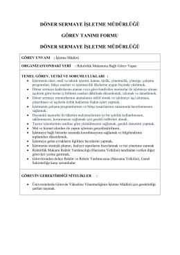 İşletme Müdürü - Döner Sermaye İşletme Müdürlüğü