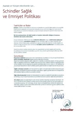 Schindler Sağlık ve Emniyet Politikası