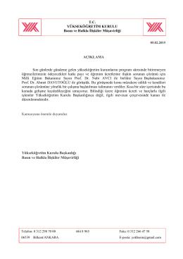 05.02.2015 Tarihli Katlamalı Harçlar Hakkında Basın Açıklaması
