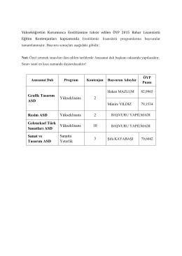 2015 Bahar ÖYP Lisansüstü Eğitim Kontenjanları Başvuru Sonuçları