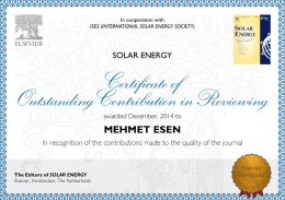 MEHMET ESEN The Editors of SOLAR ENERGY