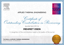 MEHMET ESEN The Editors of APPLIED THERMAL ENGINEERING