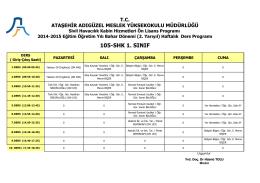 Sivil Havacılık Kabin Hizmetleri 1. Sınıf (Bahar Dönemi