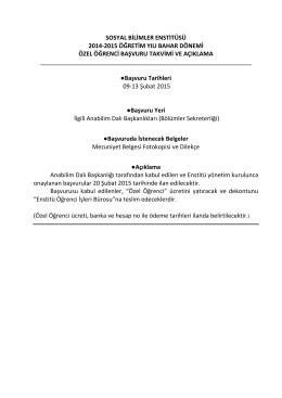 sosyal bilimler enstitüsü 2014-2015 öğretim yılı bahar dönemi özel