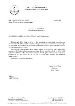 Özür Grubu Atamaları İptal Başvuruları 10.02.2015 14:29