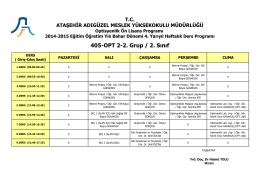 Optisyenlik 2. Sınıf 2. Grup (Bahar Dönemi-4. Yarıyıl)
