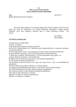 04/02/2015 Konu: Öğretmenler Kurulu Toplantıs