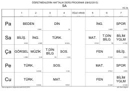 2014-2015 Eğitim Öğretim Yılı 2. dönem 9 Şubat 2015 Tarihinde