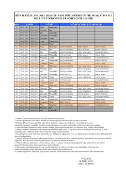 biga 18 eylül anadolu lisesi 2014-2015 eğitim öğretim yılı ocak