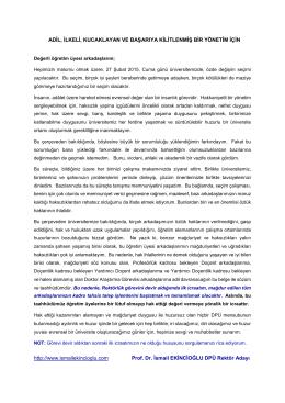 Kilitlenmiş Bir Yönetim - Prof. Dr. İsmail EKİNCİOĞLU