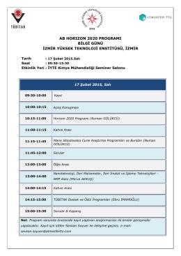 ab horızon 2020 programı bilgi günü izmir yüksek teknoloji enstitüsü