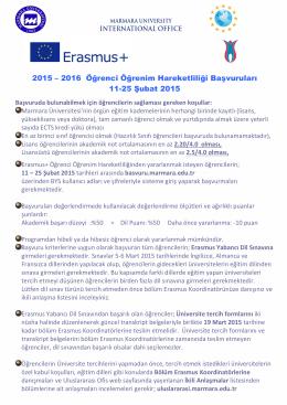 2015 – 2016 Öğrenci Öğrenim Hareketliliği Başvuruları 11