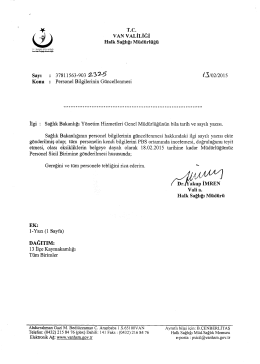 37811563-903 2-32-5 /Jj/02/2015 Konu : Personel Bilgilerinin Günc