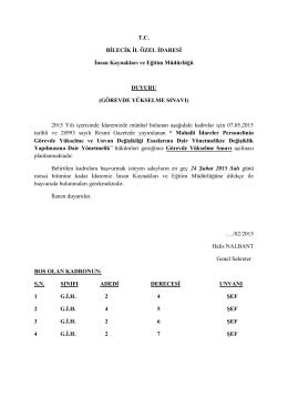 İdaremizin 2015 yılı Görevde Yükselme Sınavı ile ilgili ilanı