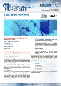 E-BLUS Sınavı ve atölyesi! - 11. Ulusal Endoüroloji Kongresi