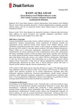 10 Şubat 2015 - Ziraat Bankası
