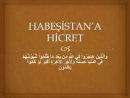 HABEŞİSTAN`A HİCRET