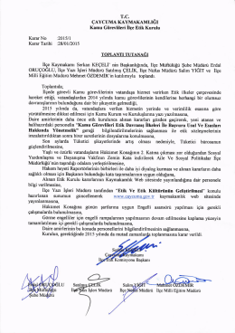 etik kurulu 2015 yılı toplantı kararları