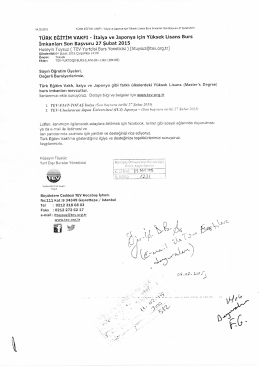 TÜRK EĞİTİM VAKFI - İtalya ve Japonya İçin Yüksek Lisans Burs
