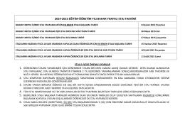 2014-2015 eğitim-öğretim yılı bahar yarıyılı staj takvimi