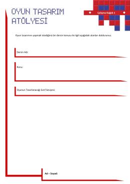 Çalışma Kağıdı 1 Ad – Soyad: Dersin Adı: Konu