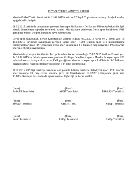 Tertip Komitesi Kararı