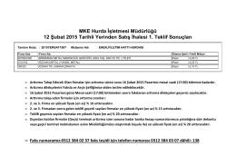 12 Şubat 2015 Tarihli Yerinden Satış İhalesi 1. Teklif Sonuçları Listesi