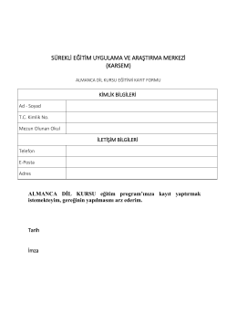 karatay üniversitesi almana dil kursu programı (taslak)