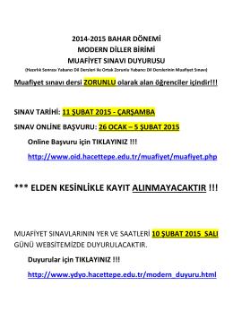 *** ELDEN KESİNLİKLE KAYIT ALINMAYACAKTIR !!!