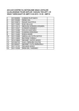2014-2015 eğitim yılı bütünleme sınav listeleri uluslararası ticari