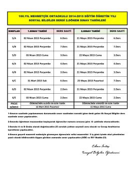 5/A 02 Nisan 2015 Perşembe 6.Ders 21 Mayıs 2015 Perşembe 6