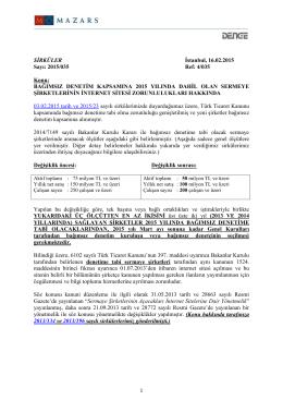 Bağımsız Denetim Kapsamına 2015 Yılında Dahil