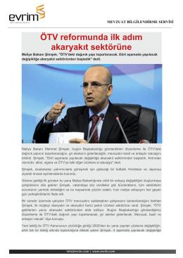 ÖTV reformunda ilk adım akaryakıt sektörüne