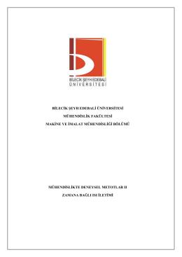 Zamana Bağlı Isı İletimi Deneyi - Bilecik Şeyh Edebali Üniversitesi