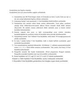 Genişletilmiş özetler için yazım kuralları aşağıda verilmektedir: