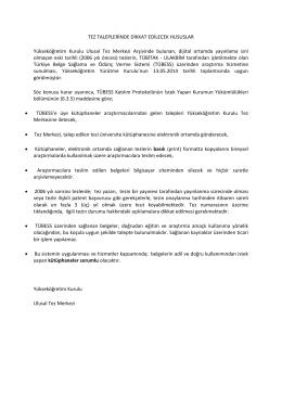 Türkiye Belge Sağlama ve Ödünç Verme Sistemi (TÜBESS) Duyurusu