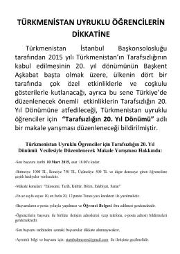 Türkmenistan Uyruklu Öğrenciler İçin Makale Yarışması