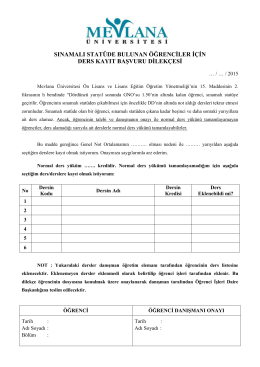 Sınamalı Statü Dilekçesi - Mevlana Üniversitesi Öğrenci İşleri Daire