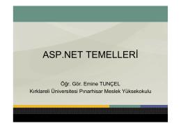 ASP.NET TEMELLERİ - Personel Web Sistemi