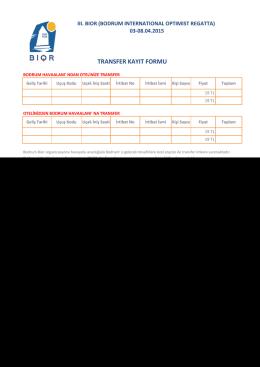 Transfer Kayıt Formu