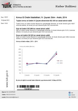 Kırmızı Et Üretim İstatistikleri-(IV. Çeyrek: Ekim - Aralık, 2014