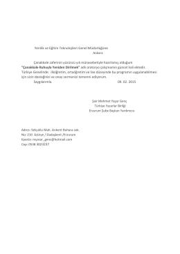 Yenilik ve Eğitim Teknolojileri Genel Müdürlüğüne Çanakkale