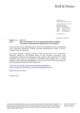 Sirküler No: 2015 / 31