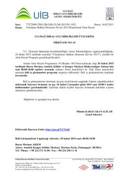 Uluslararası Balkan Ekonomi Zirvesi 2015 Rumelisiad Alım Heyeti HK