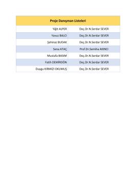 Proje Danışman Listeleri