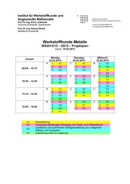Projektplan und Gruppeneinteilung in den Semesterferien