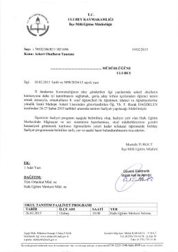 ASKERİ OKULLARIN TANITIMI - Ulubey İlçe Milli Eğitim Müdürlüğü
