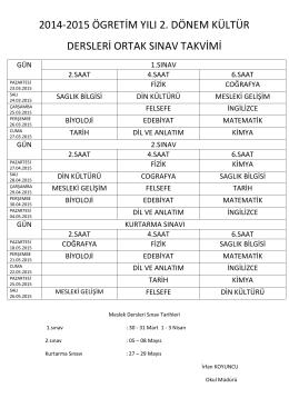 2014-2015 ögretim yılı 2. dönem kültür dersleri ortak sınav takvimi