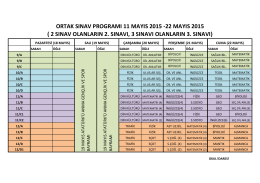 ortak sınav programı 11 mayıs 2015